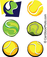 Tennis Ball Vector Image Icons - Vector Group of Six Tennis...