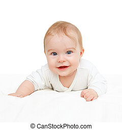 Crawling baby on white background - Crawling blue-eyed baby...