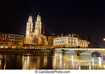 Zurich city, Grossmunster cathedral - Zurich city,...