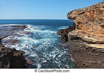 Picturesque coast in the early spring - Picturesque coast of...