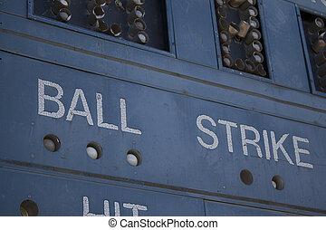 Scoreboard - Baseball Scoreboard old vintage run down...