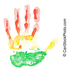 Colored hand print on white background in red, yellow and...