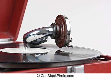 Vintage gramophone with a vinyl