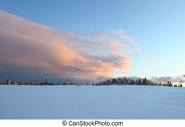 Dramatic sweeping cloud in winter - Large sweeping cloud at...