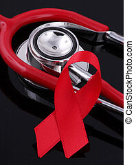 red ribbon - A red ribbon with a red stethoscope on black...