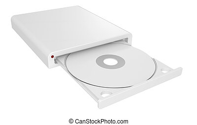 CD-ROM in drive. isolated 3d image.