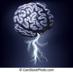 Brain Storm Illustration - Illustration of a brain with...
