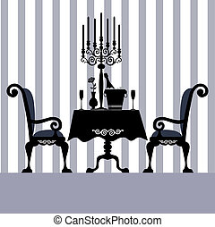 Dinner - Romantic dinner for two with table and two chairs,...