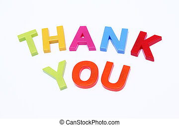 Thank you - fridge magnet spelt out thank you isolated on...
