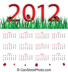 special calendar for 2012 with ladybirds