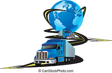 articulated vehicle transport - planet earth with a truck...