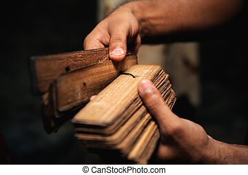 Ancient Sanskrit - Buddhist prayer book of papyrus reeds in...