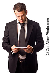 business man reading post.
