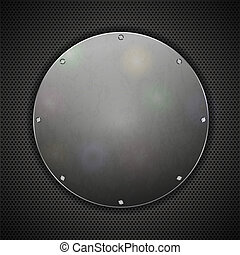 circle steel plate on metal background. Vector illustration