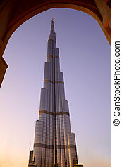 Burj Khalifa at sunset, Dubai - Photo of Burj Khalifa the...
