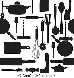 Vector seamless pattern of kitchen tools