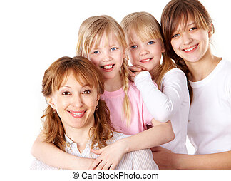 Female generations - Portrait of happy woman with her three...