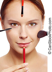 Female with makeup tools