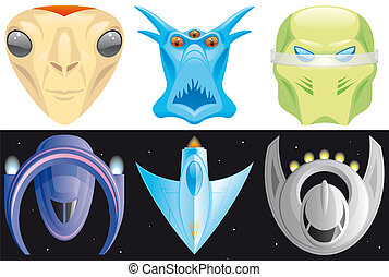 Alien and spaceships icons
