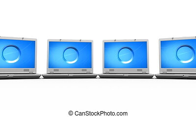 Clean Laptops Animation HD Loop - Many open Laptops around...
