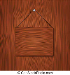 Hanging wooden board, vector eps10 illustration