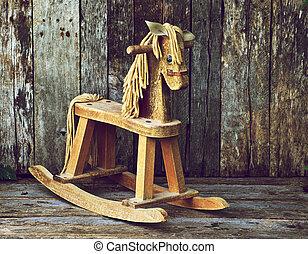 anticaglia, legno, oscillante, cavallo