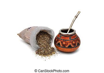 Yerba Mate tea on a white background