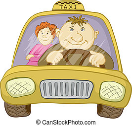 Car taxi with driver and passenger