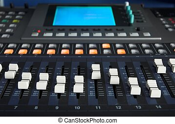 Digital Mixing Desk - Hi-tech digital mixing desk in a...