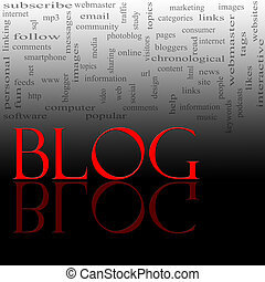 Blog Word Cloud Red and Black - A word cloud concept for the...
