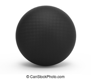 3d fiber carbon sphere on white background