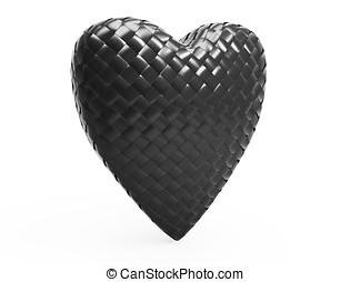 3d red carbon fiber heart