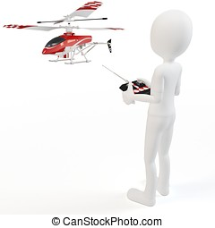 3d man Piloting Radio controlled helicopter with remote...