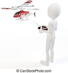 3D, homem, pilotar, rádio, controlado,...