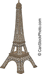 Eiffel tower in Paris, France - Hand drawn vector...