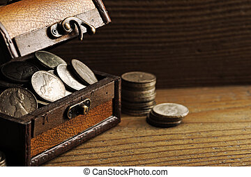Treasure chest  - Treasure chest, old coins