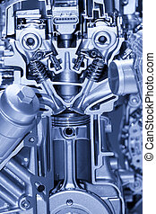 Automotive engine details - Cut section of automotive four...