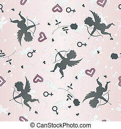 Seamless pattern with cupids and roses. Vector illustration...