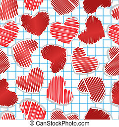 Paper hearts on squared paper. Seamless for Valentine's day.