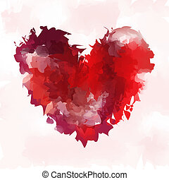 Heart vector in watercolor style. Background for Valentine's...