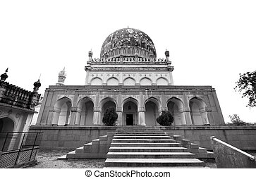 Qutb Shahi Tombs in black and white