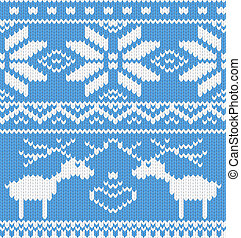 Seamless knitted pattern with deer. Vector illustration.