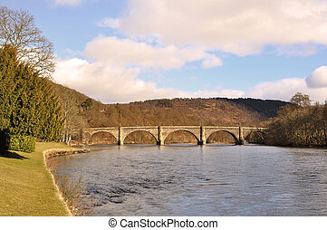 The River Tay at Dunkeld, Perthshire - The bridge over the...