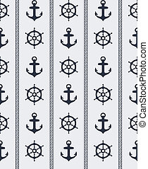 Seamless nautical pattern - Seamless blue nautical...