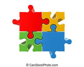 4 colors puzzle concept. High quality 3d render
