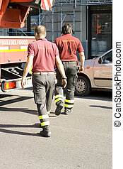 Firemans on the street - Photo of Firemans on the street