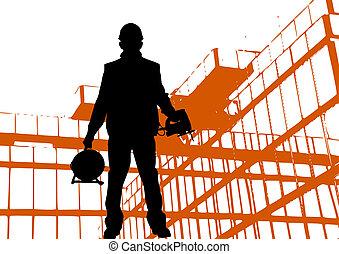 Porter, bâtiment, silhouette, dur, ouvrier, noir, Dehors,...