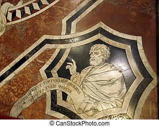 鑲嵌, 地板,  Duomo,  56, 壯麗,  Siena, 一,  -, 內部, 面板, 大理石, 蝕刻