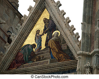Siena - Duomo facade.The smaller mosaic,Presentation of Mary in the Temple, by Alessandro Franchi.