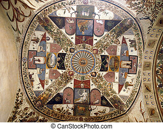 Siena - ceiling in arches of the Palazzo Chigi Saracini...